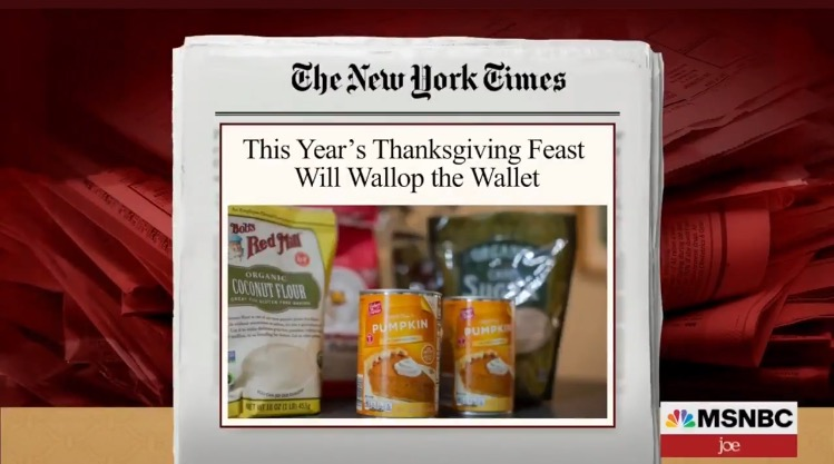 Biden Effect: Thanksgiving 2021 to be the Most Expensive Meal in History of the Holiday