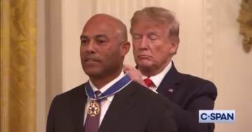 Trump Walks Out to Metallica's 'Enter Sandman' to Present Medal of Freedom to Former Yankees Pitcher Mariano Rivera (VIDEO)