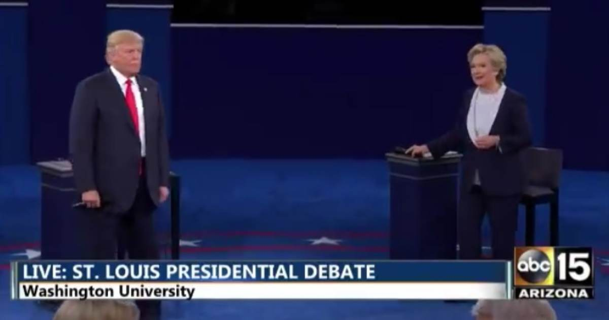 """photo image EPIC! President Trump Taunts Crooked Hillary With 2016 Debate Clip, """"Because You'd Be in Jail"""""""