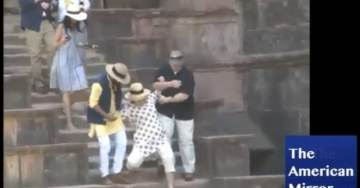 Crooked Hillary Fractures Her Wrist After Slipping in Palace Bathtub in India