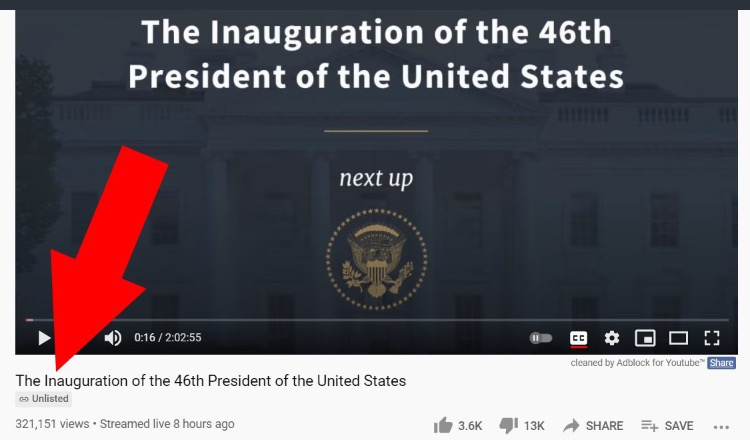 Biden Inauguration Video Gets Only 320,000 Views on Official White House YouTube Channel – Comments Turned Off – But Biden Got 81 Million Votes