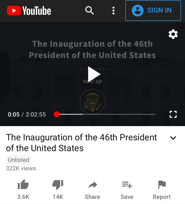 Biden Inauguration Video Gets Only 320,000 Views on Official White House YouTube Channel – Comments Turned Off