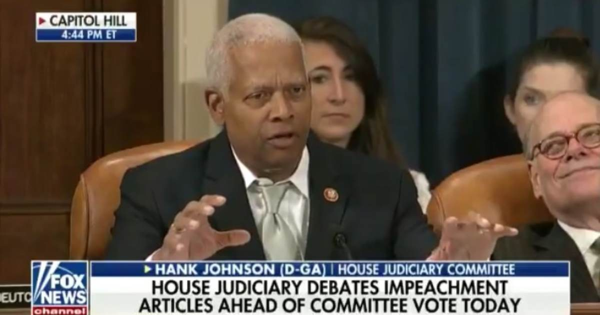 Democrat Village Idiot Hank Johnson Wants to Impeach President Trump For *Checks Notes* – Being Too Tall (VIDEO)