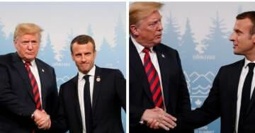 LITTLE MACRON Leaves Print on President Trump's Hand After Tense Handshake… WTH Frenchie?