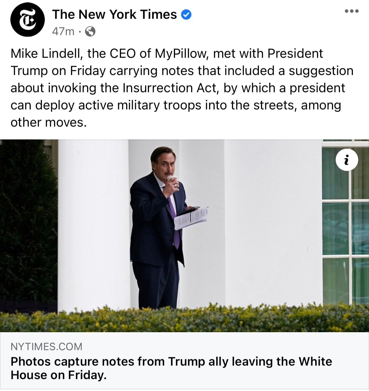 Mike Lindell Visits Trump in White House – Then Media Captures Pictures of His Notes to President Referring to Crimes and Insurrection Act Mr-Pillow-Notes-3