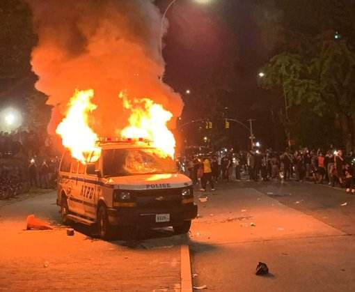 Protesters Torch Police Van as New York Police Precinct Sends Out SOS
