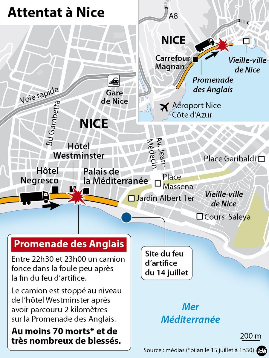 Nice France Terror Truck Attack Map Nice Matin Twitter