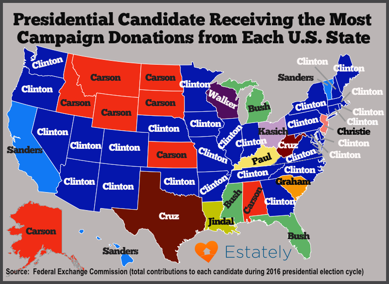 Presidential contribution map