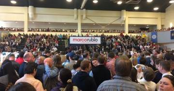 Rubio Eggs On, Cracks Jokes as Supporters Attack Protesters at Campaign Rally