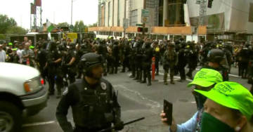 Heavy Police Presence As Dueling Protests Grow Out Of Control in Portland