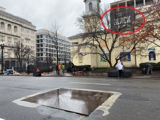Fencing Around St. John's Church In DC Is Taken Down Next to the White House But the BLM Poster Remains