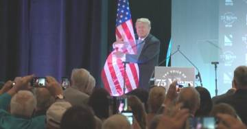 President Trump Hugs American Flag After Speech, Liberals Triggered