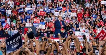 President Trump Pushes Back Against 'Fake News' Reports of Empty Arena at New Hampshire Rally as Official Confirms Record Crowd