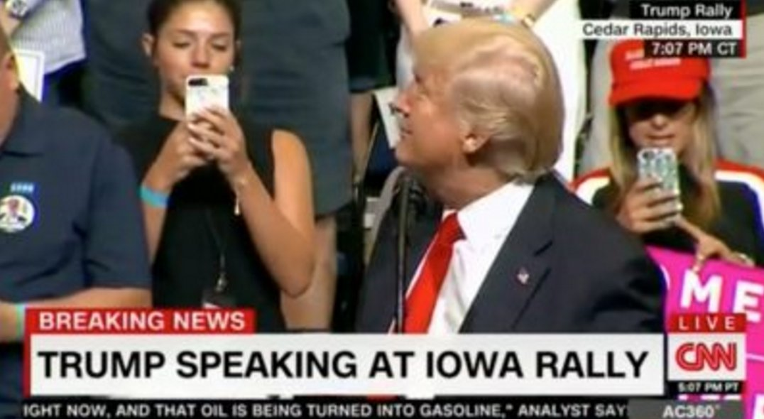 Video: Protesters Blow Whistles as Pres. Trump Salutes Rep. Scalise at Iowa Rally