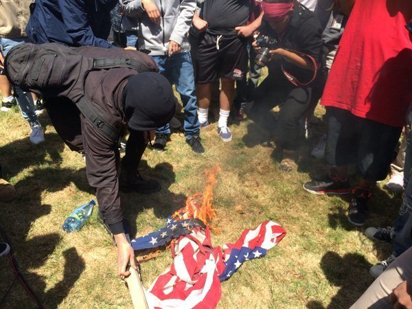 Video: Anti-Trump Protesters STEAL, TORCH American Flag at CA GOP Convention