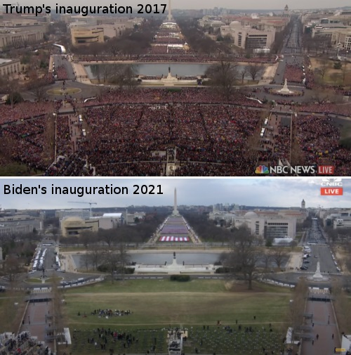 It's Clear – Since the 2020 Election – Joe Biden and His Gang Are Scared to Death of Facing the American People Trump-vs-Biden-Inaugurations
