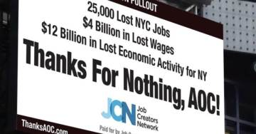 """Wow! Times Square Billboard DESTROYS Socialist Dimwit Ocasio-Cortez """"Thanks for Nothing!"""" @AOC"""