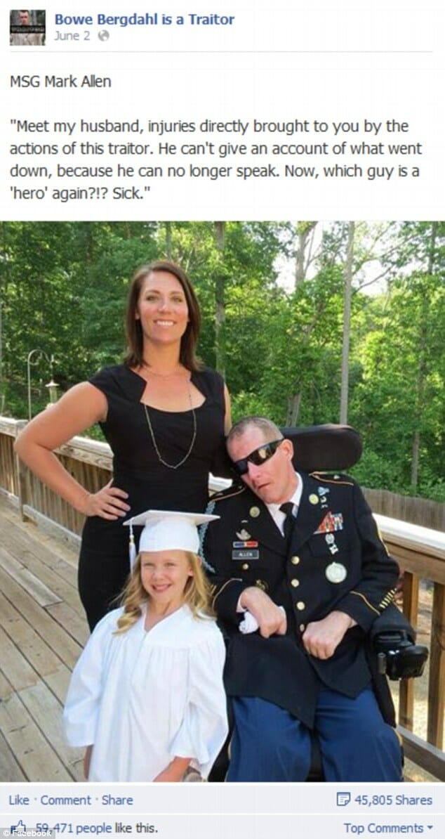"""Flashback: Wife of Disabled Vet Severely Wounded in Bergdahl Search Lashes Out at """"Traitor"""" Bergdahl"""