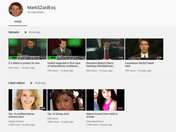 This Is Weird? Whistleblower Attorney Mark Zaid's YouTube Channel Reveals He Likes Watching 'Disney Girls' Videos Channel-600x451