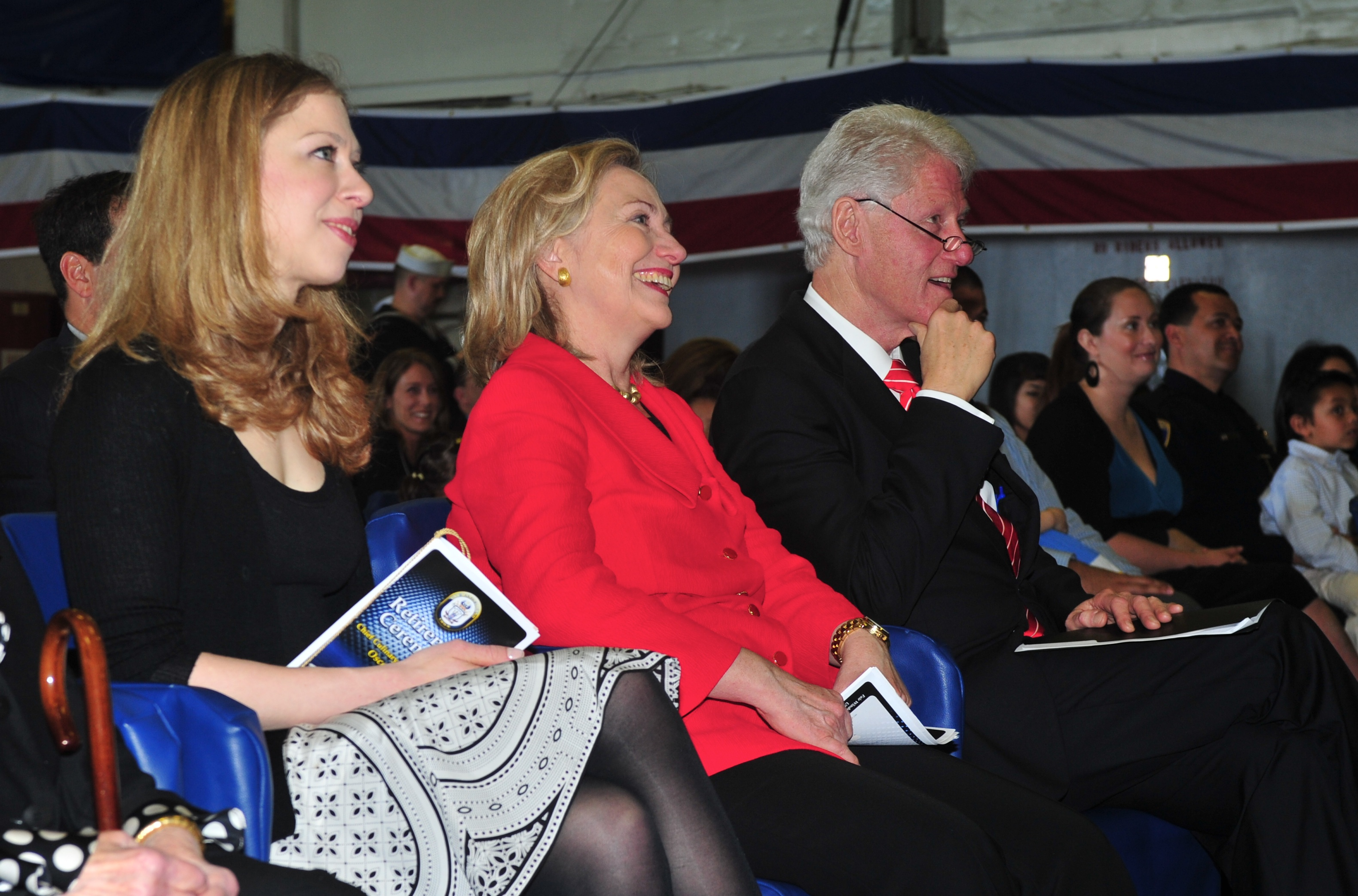 110401-N-KD852-385 SAN DIEGO (April 1, 2011) Chelsea Clinton, left, Secretary of State Hillary Rodham Clinton and former U.S. President William Jefferson Clinton attend the retirement ceremony of Chief Culinary Specialist Oscar Flores aboard the multi-purpose amphibious assault ship USS Makin Island (LHD 8). Flores works for the Clinton family and previously served President Clinton during an assignment at the White House. (U.S. Navy photo by Chief Mass Communication Specialist John Lill/Released)