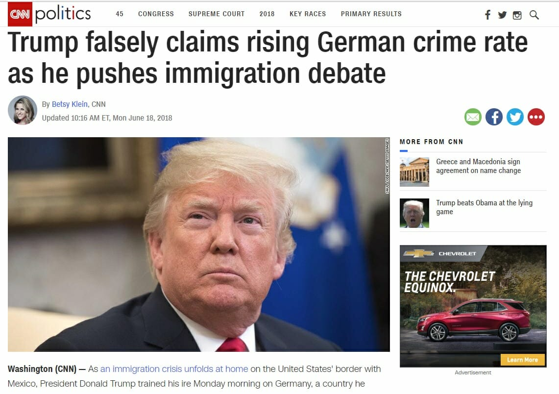 Predictable: Fake News Media Defends Germany After Trump Tweets Out on Migrant Crime