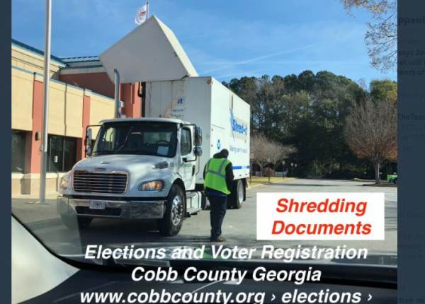 Attorney Lin Wood Goes on Tweet Storm — Posts Video of Destruction and Shredding of Election Fraud Evidence in Cobb County 2