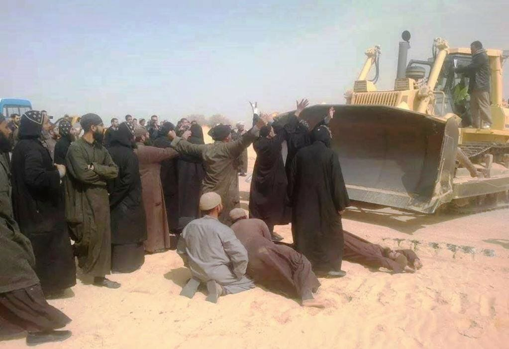 coptic monks bulldozer