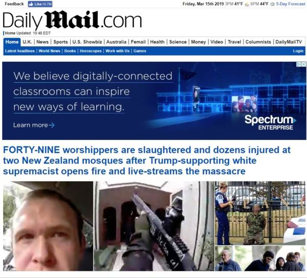 photo image HOLY CRAP — A NEW MEDIA LOW! Daily Mail Blames Trump For NZ Terror Attack on US Page — BUT NOT on UK Page!