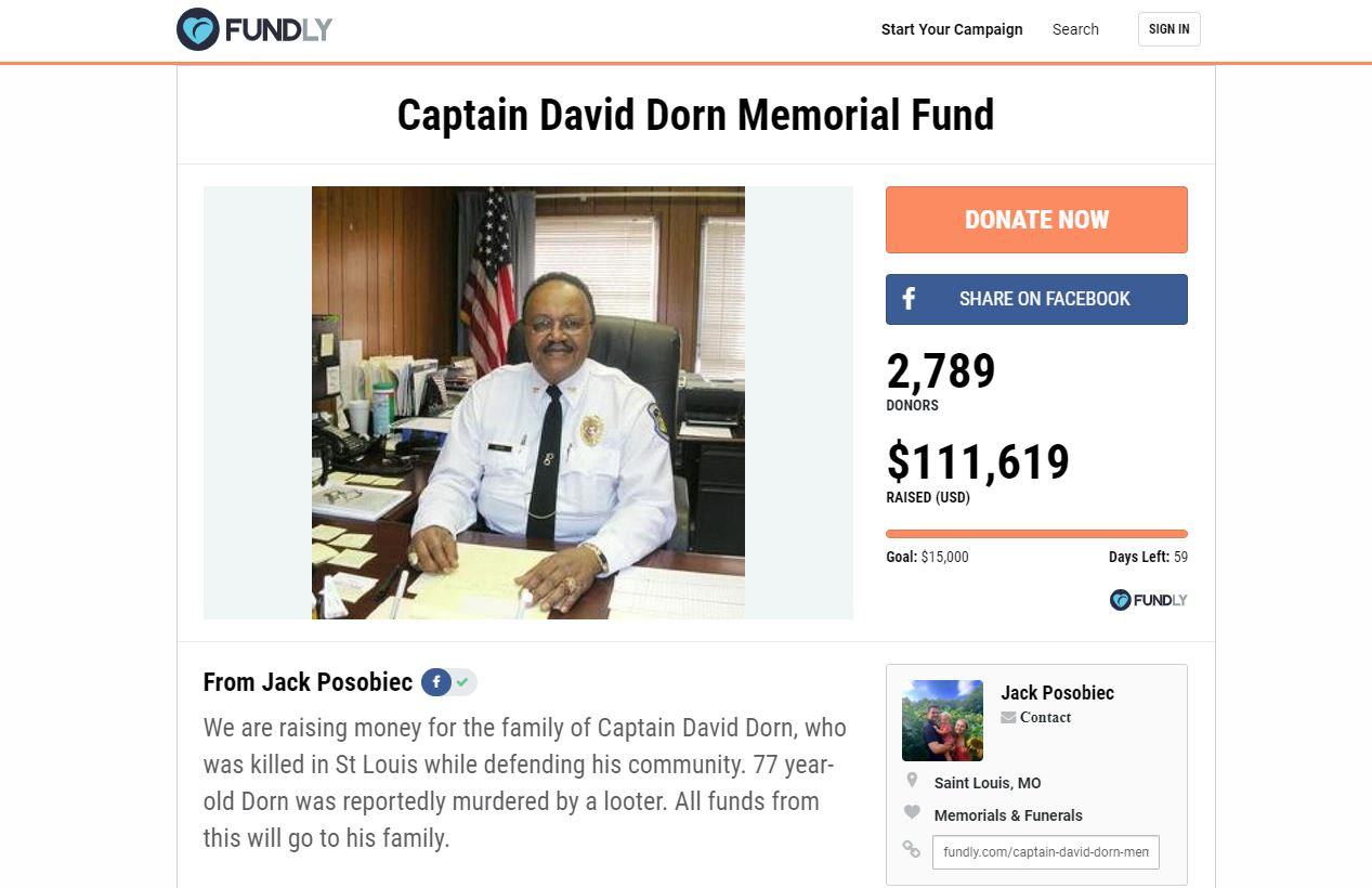 Memorial Fund Raises $100,000 for Family of Murdered Police Captain David Dorn — Thanks to Jack Posobiec