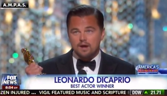 """Hypocrite DiCaprio Wins Oscar Tells Rubes to """"Not Take Planet for Granted"""" (VIDEO)"""
