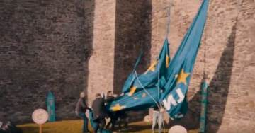 EPIC VIDEO: Flemish Patriots Tear Down Massive EU Flag From Historic Castle At Open Borders Event. Leftists React In Horror