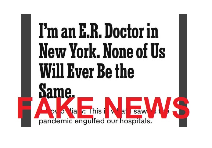 MORE FAKE NEWS: New York Times Admits Report on 26-Yr-Old E.R. Doctor Who Died from Coronavirus Was Completely Made Up