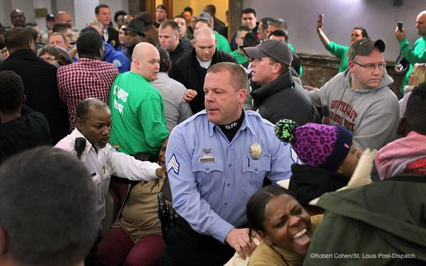 ferguson review board meeting riot