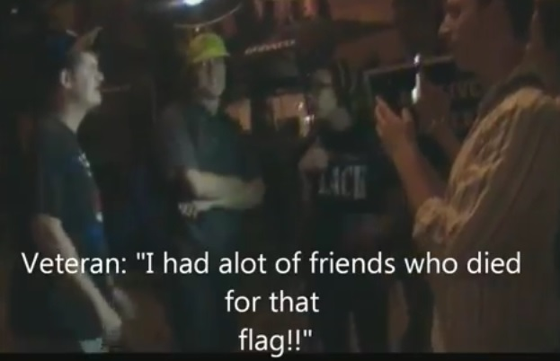 ferguson stomp on flag