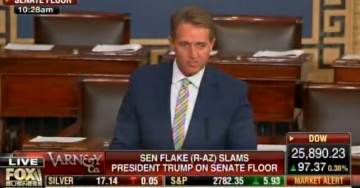 "HOW AWFUL: RINO Jeff Flake Slams ""Moral Vandalism"" of Trump – Defends Unhinged Media and Obama on Senate Floor (VIDEO)"