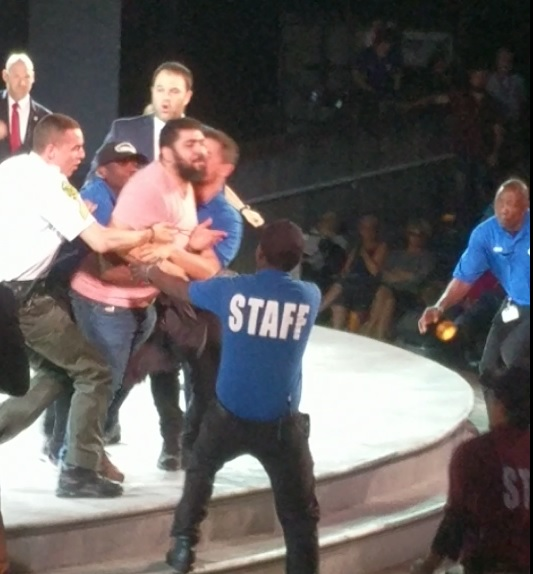 "photo image SECOND PROTESTER STORMS STAGE at NYC Trump Assassination Play! ""Goebbels Would Be Proud! CNN Is ISIS!"" –VIDEO"