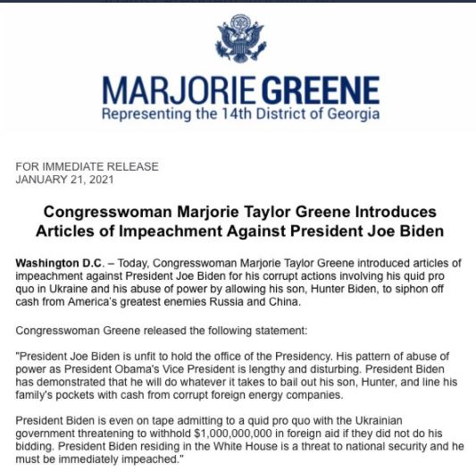 GOP Lawmaker Marjorie Taylor Greene Introduces Articles of Impeachment on Fraudulent President Joe Biden Greene-1