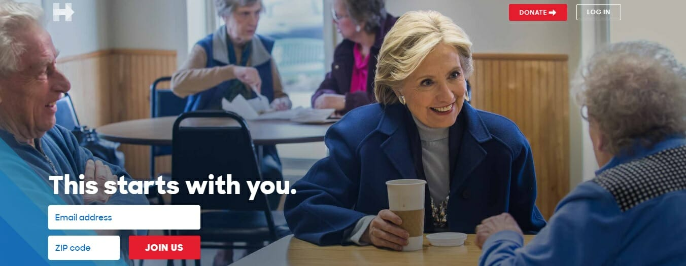 fresh hillary clinton homepage features four old white