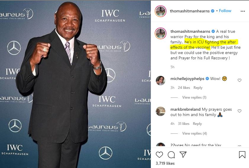 Boxing Great Marvin Hagler Dies – According to Reports He Was in ICU on Saturday After Taking Covid-19 Vaccine Hit-man-hearns