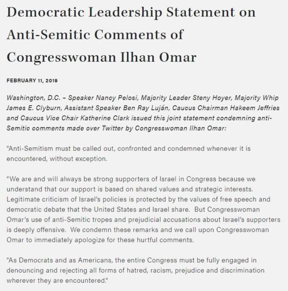 pelosi releases weak statement on anti