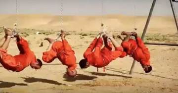 HORROR! ISIS Burns 4 Prisoners Upside Down From Swing-set in Chains