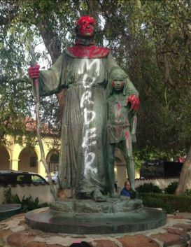 photo image Catholic Saint Junipero Statue Decapitated and Doused in Red Paint in Santa Barbara