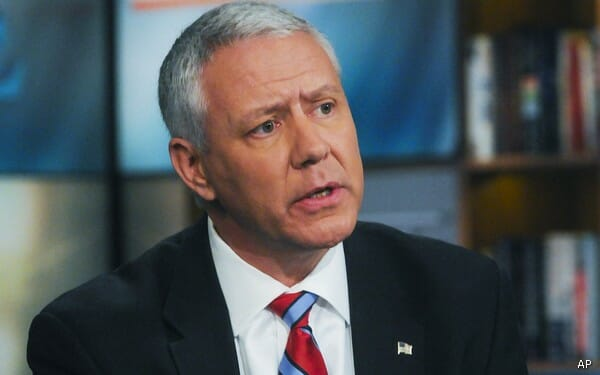"In this photo provided by NBC Republican candidate for the U.S. Senate from Colorado, Ken Buck, debates the Democratic candidate from Colorado, Sen. Michael Bennet, not shown, on NBC's Meet the Press in Washington Sunday, Oct. 17, 2010.  To defend himself from allegations that he abandoned the the far-right in favor of appealing to moderate voters in one of nation's most competitive Senate contests, Buck compared homosexuality to alcoholism: ""I think that birth has an influence over it, like alcoholism and some other things, but I think that basically you have a choice.""  (AP Photo/NBC, William B. Plowman)   NO ARCHIVES. NO SALES."