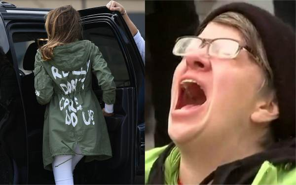 photo image Liberal Heads Explode After First Lady Melania Trolls Fake News Wearing 'I Really Don't Care, Do You?' Jacket