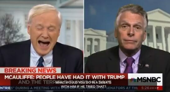 Democrat Govorner McCauliffe Threatens to Knock President Trump to Floor - MSNBC Host Can't Stop Laughing (VIDEO)