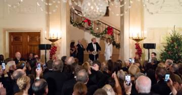 "At White House Christmas Party President Trump Congratulates Melania Trump on Beautiful ""Christmas"" Decorations"