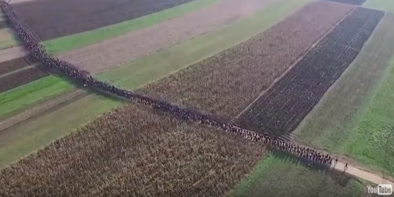 FILMED FROM ABOVE=> Muslim Migrants March Through Slovenia Like Invading Soldiers (VIDEO)