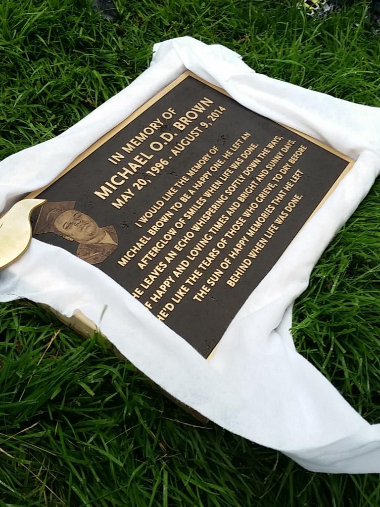 mike brown memorial plaque
