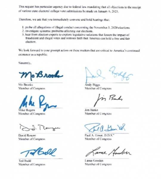 Rep. Mo Brooks and 18 Colleagues Request Election Fraud Hearings Before January 6th Electoral College Vote 4