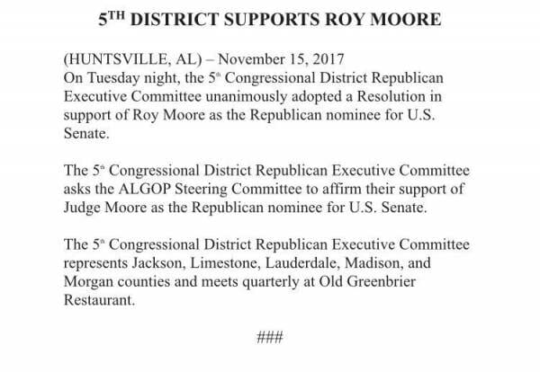 Alabama GOP and Rep. Mo Brooks Issue Statements Supporting Senate Candidate Roy Moore